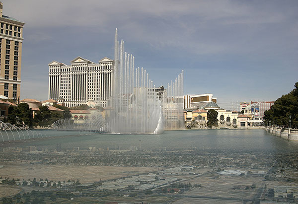 Image of Light Painting Bellagio Under Watershow