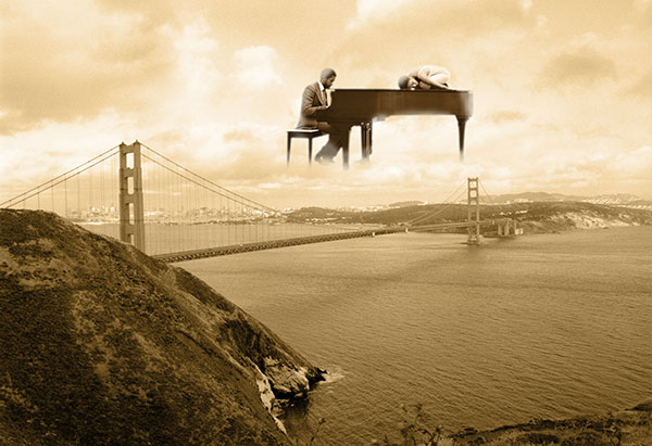 Image of Light Painting Harmonizing with Golden Gate