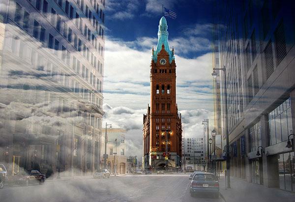 Image of Light Painting Milwaukee City Hall
