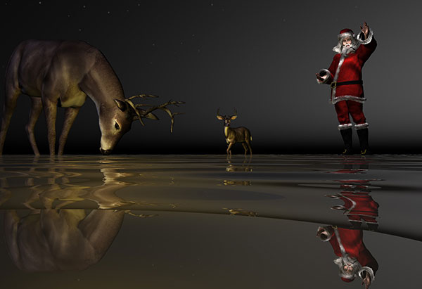 Image of Light Painting Wading for Santa